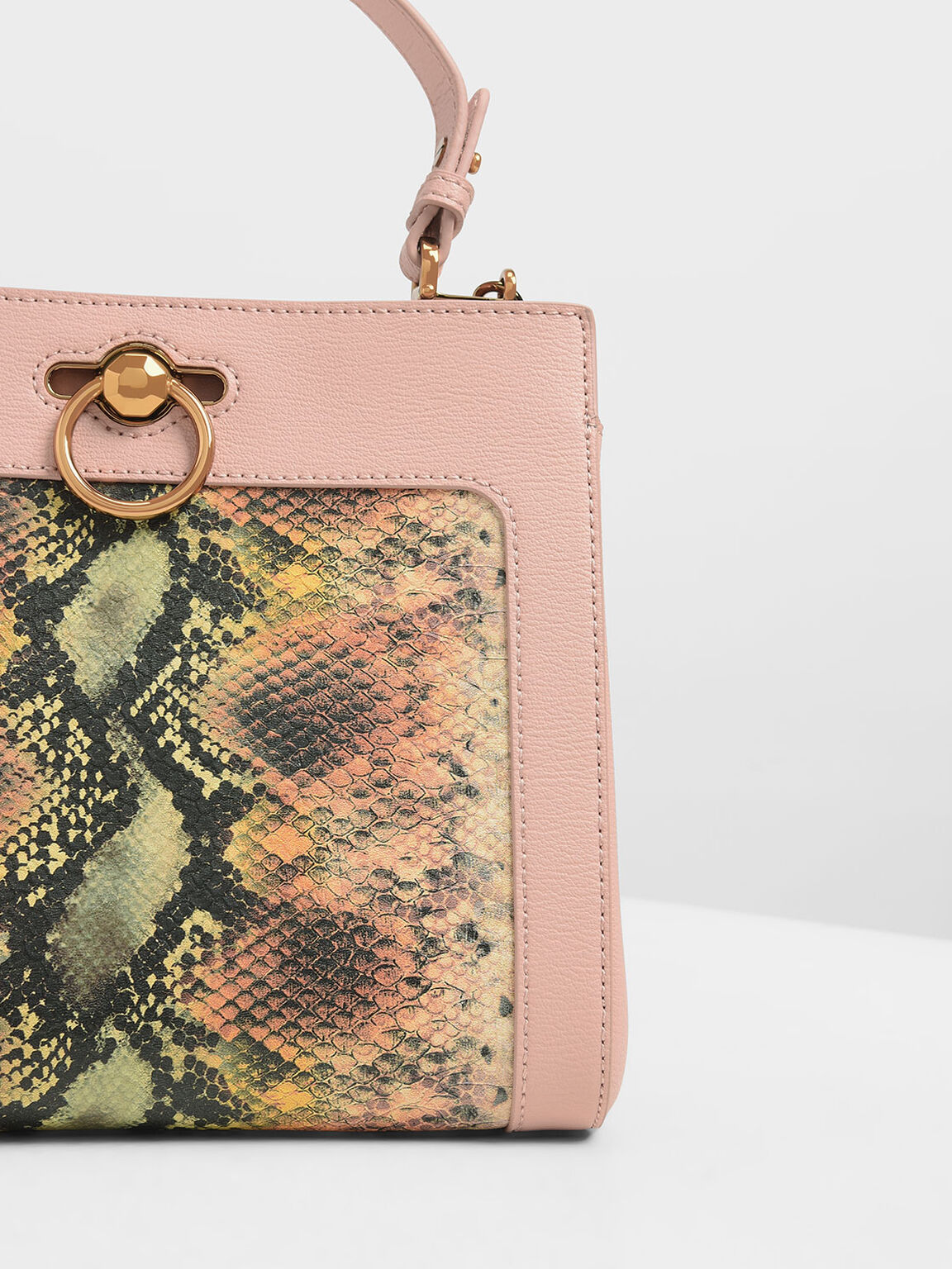 Snake Print Ring Buckle Top Handle Bag, Multi, hi-res