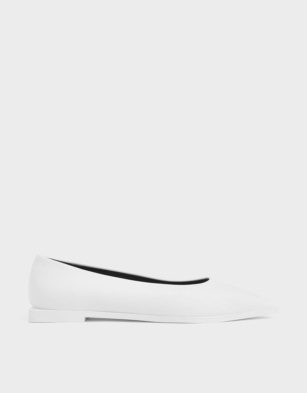 White Pointed Toe Ballerina Flats