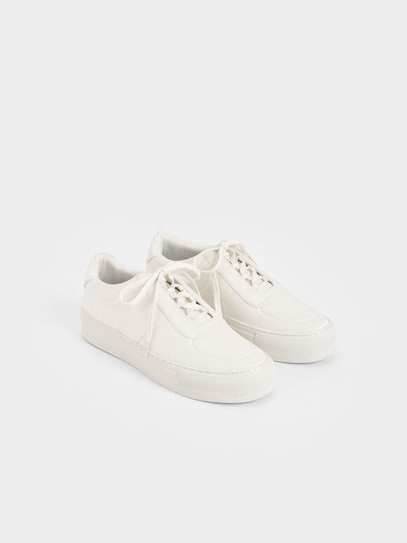 Satin Platform Trainers, White, hi-res