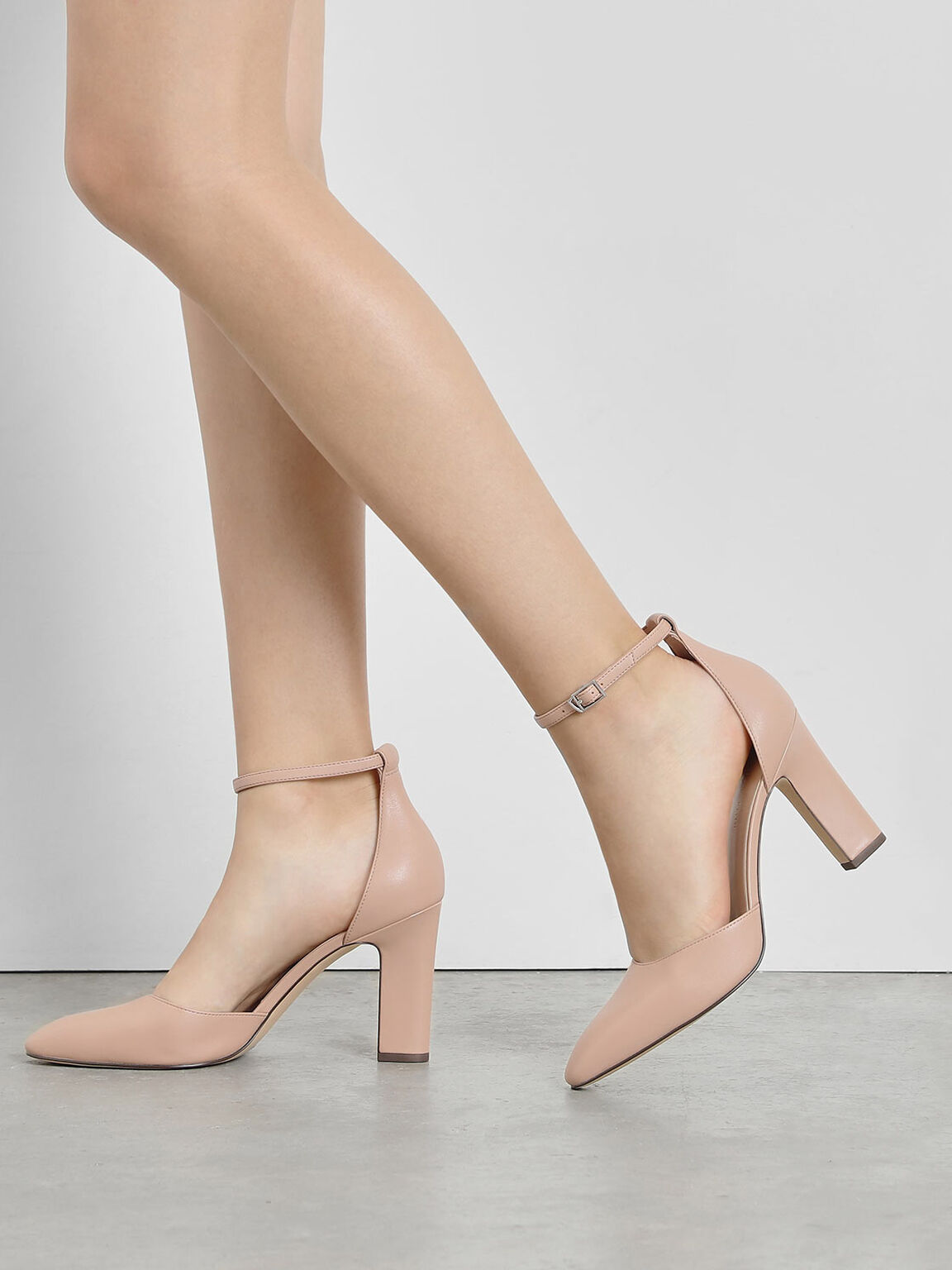 D'Orsay Ankle Strap Pumps, Nude, hi-res