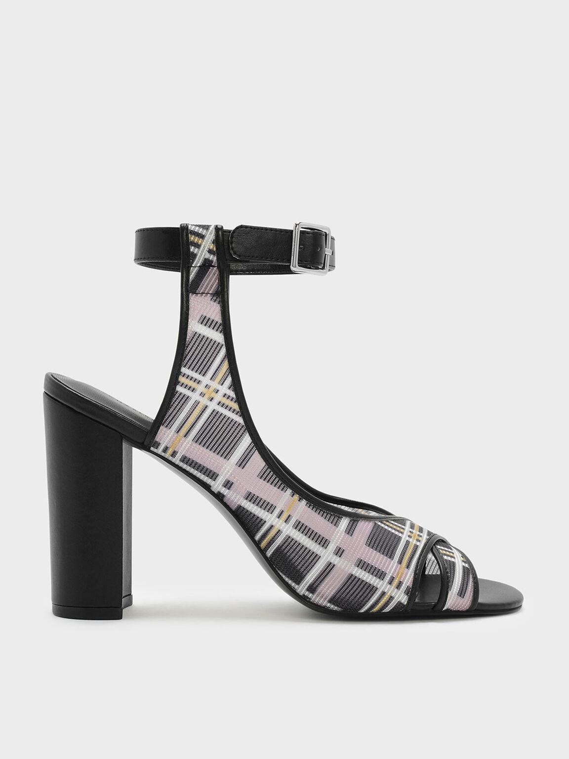 Ankle Strap Block Heel Mesh Sandals, Black, hi-res