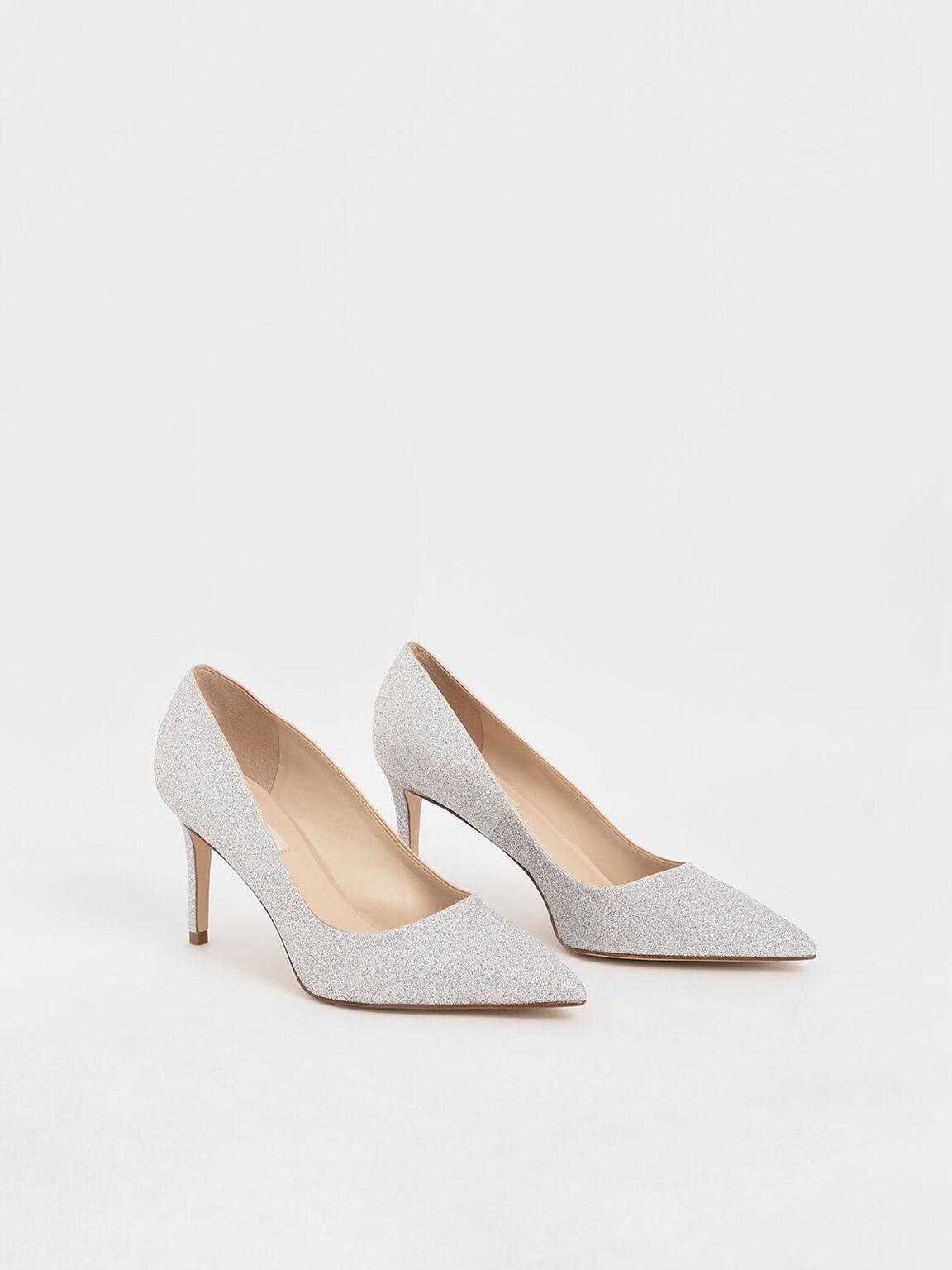 Glitter Stiletto Heel Pumps, Silver, hi-res