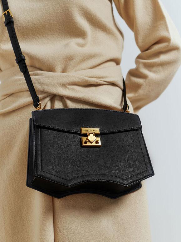 Sculptural Crossbody Bag, Black, hi-res