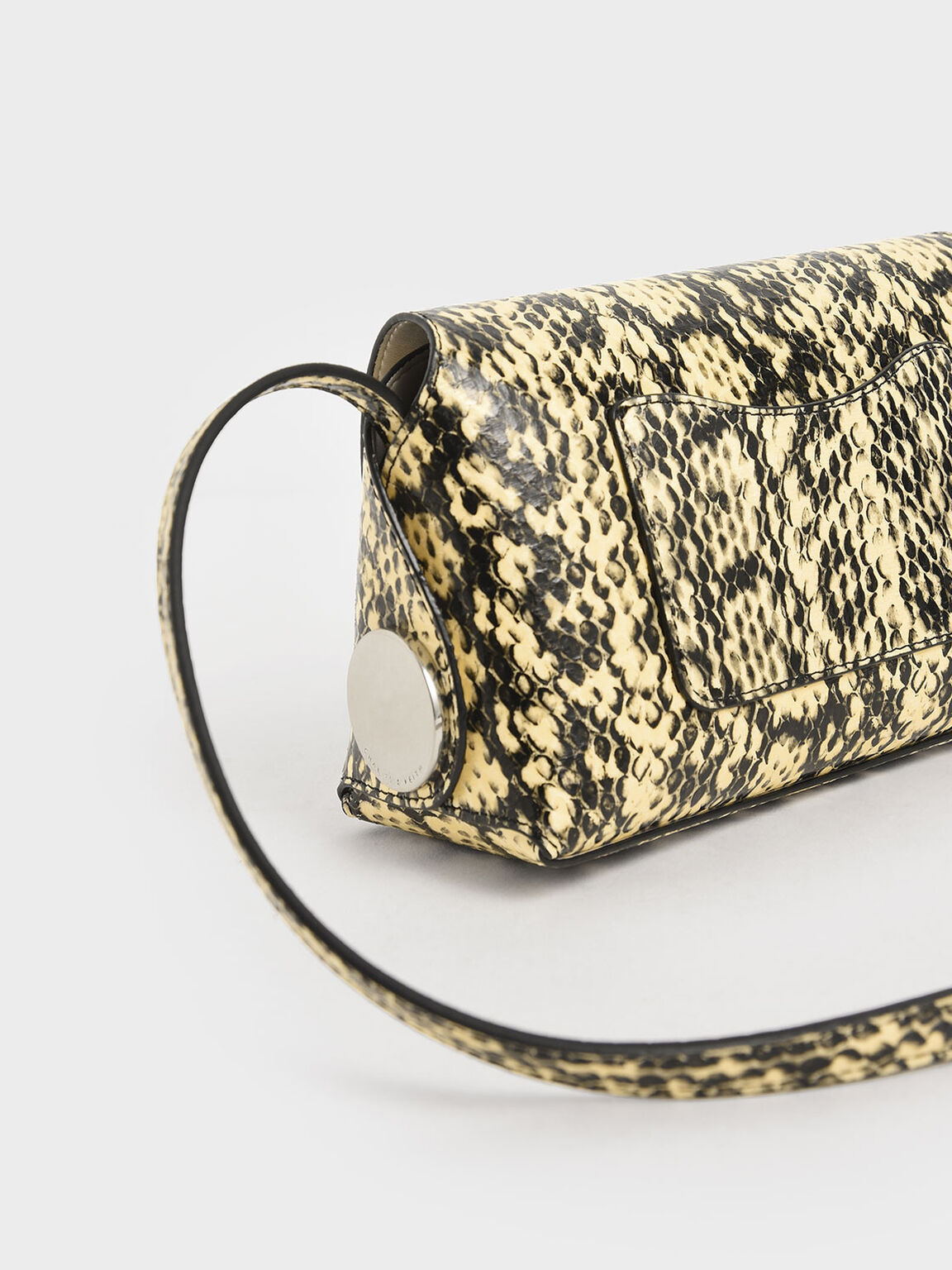 Snake Print Metal Accent Mini Crossbody Bag, Yellow, hi-res