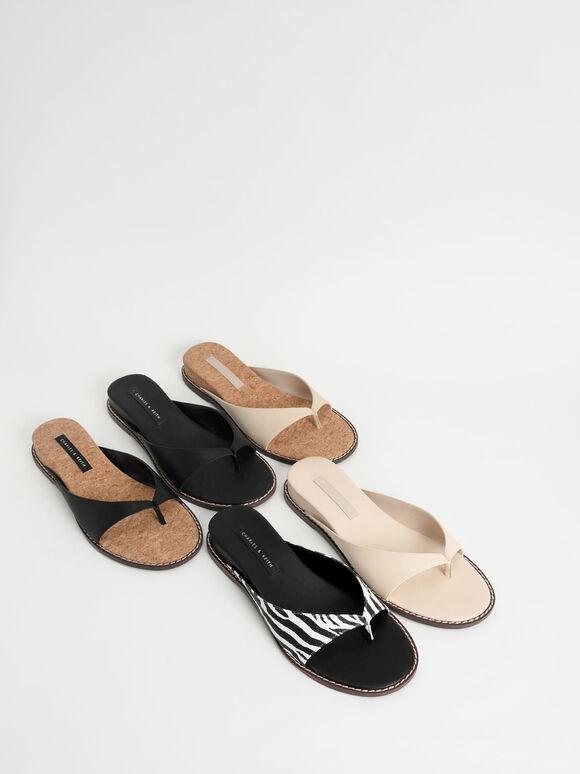Stitch Trim Thong Sandals, Black Textured, hi-res