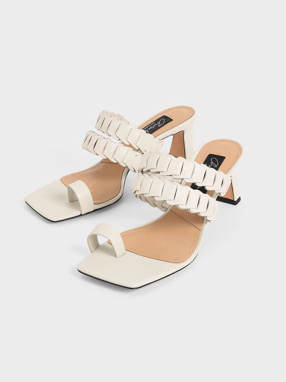 Leather Pleated Strap Mules, Chalk, hi-res