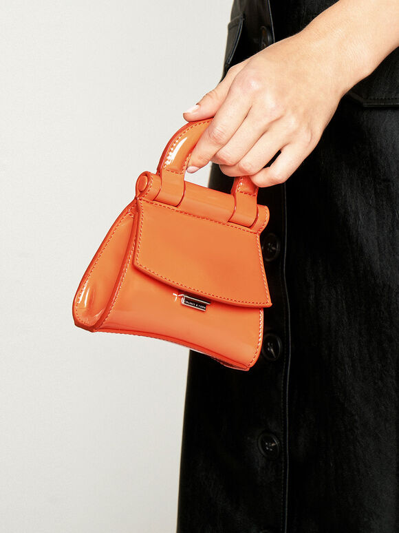 Mini Patent Top Handle Pouch Bag, Orange, hi-res