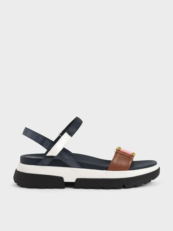 Mesh & Grosgrain Flatform Sandals, Blue, hi-res
