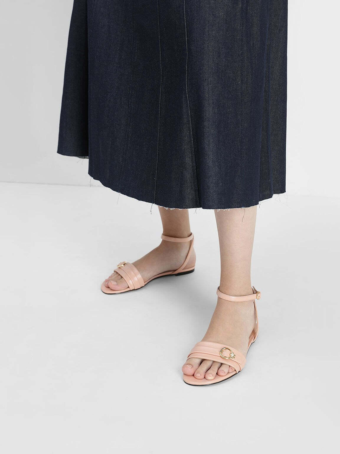 Gold Accent Ankle Strap Flats, Peach, hi-res