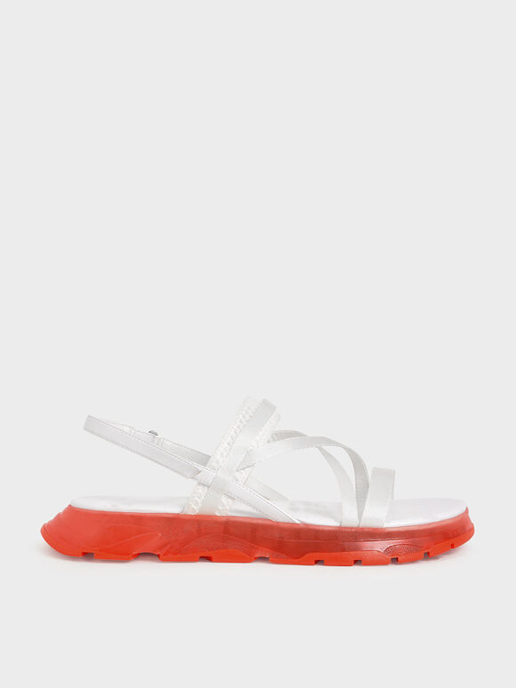 Grosgrain Strappy Flatform Sandals, White, hi-res