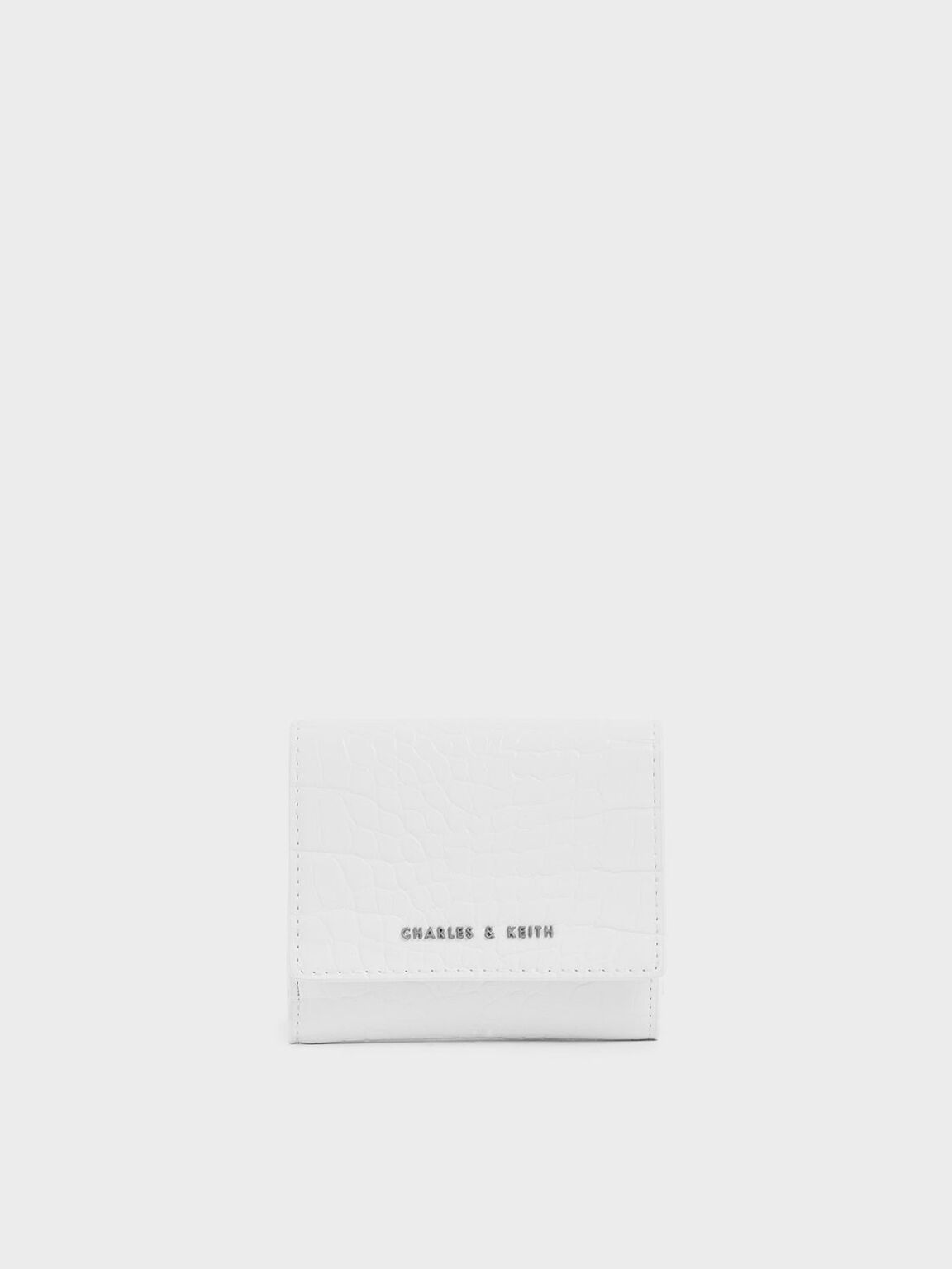 Croc-Effect Short Wallet, White, hi-res