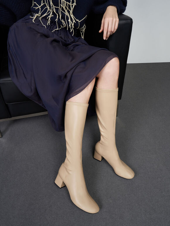Block Heel Knee Boots, Sand, hi-res