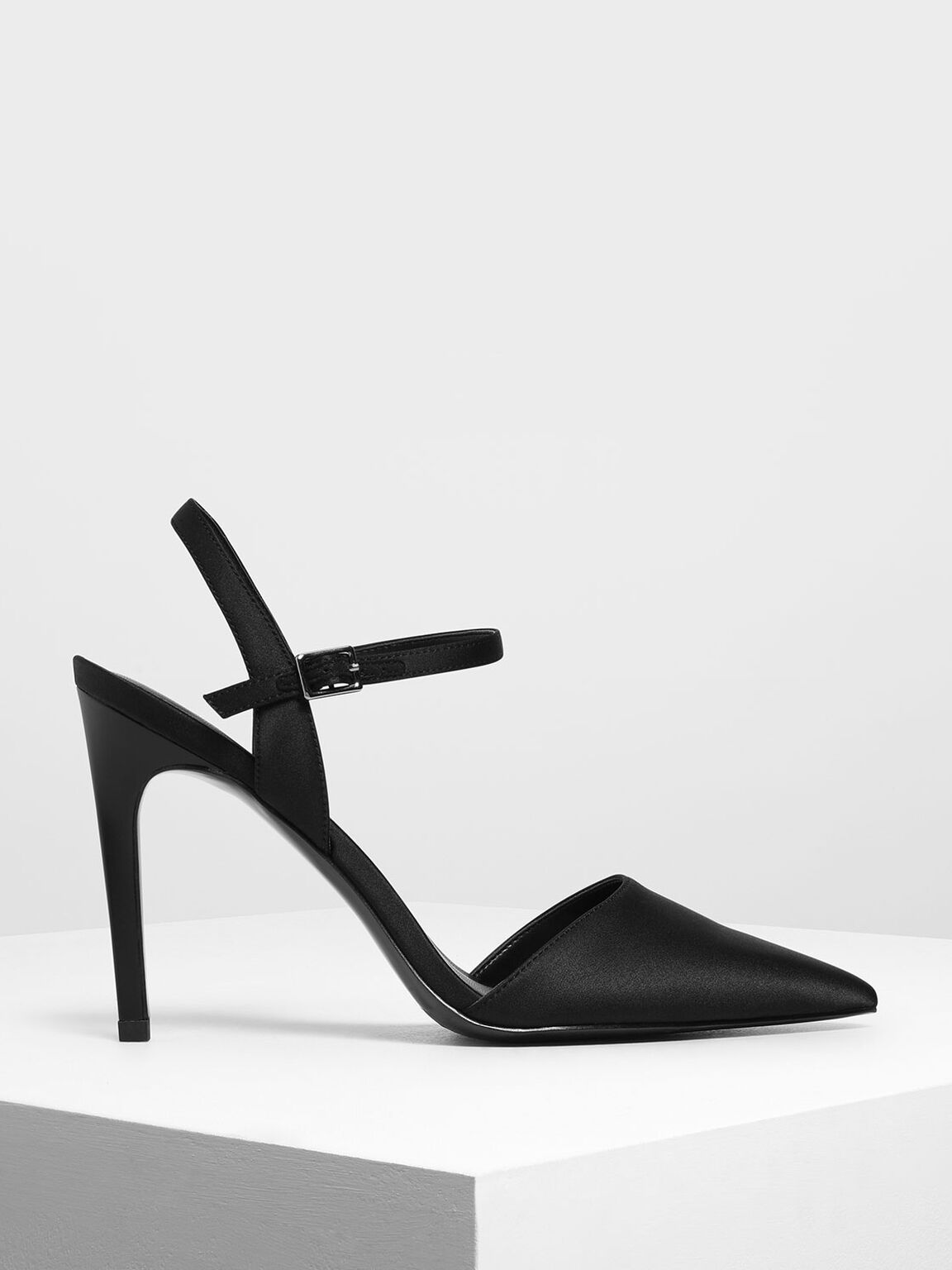 Satin Ankle Strap Covered Heels, Black, hi-res