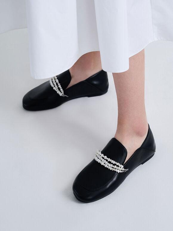 Beaded Step-Back Loafers, Black, hi-res