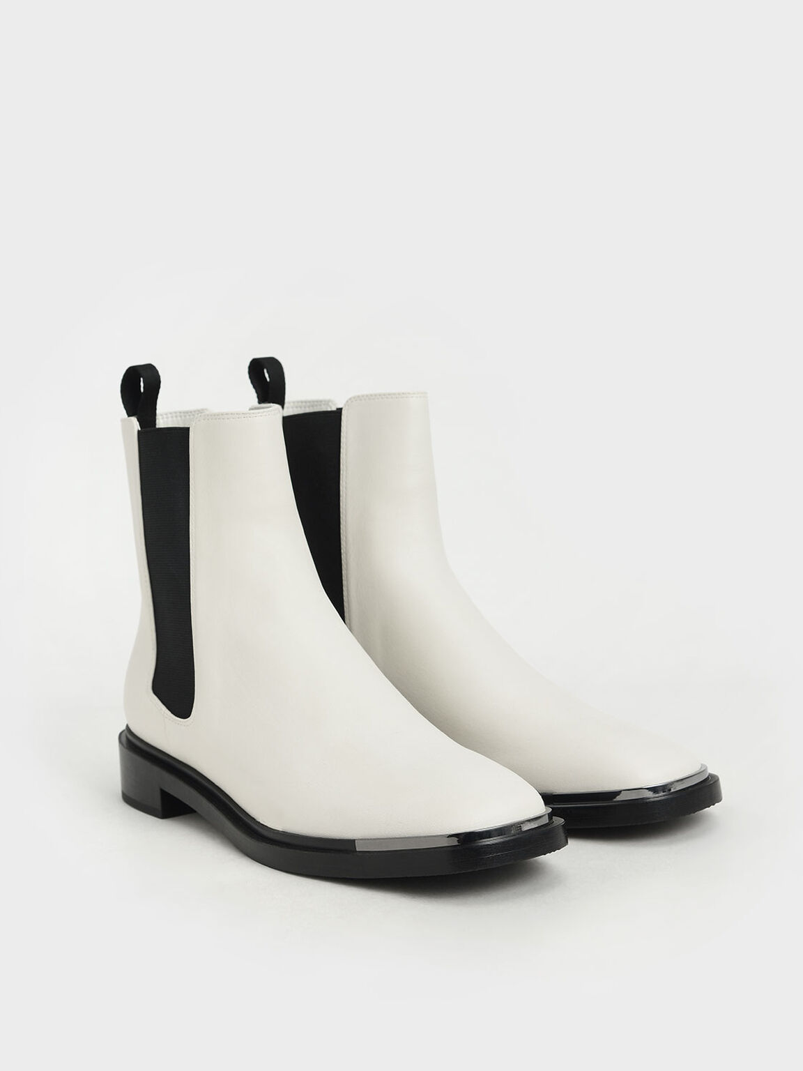 Metal Accent Chelsea Boots, Chalk, hi-res
