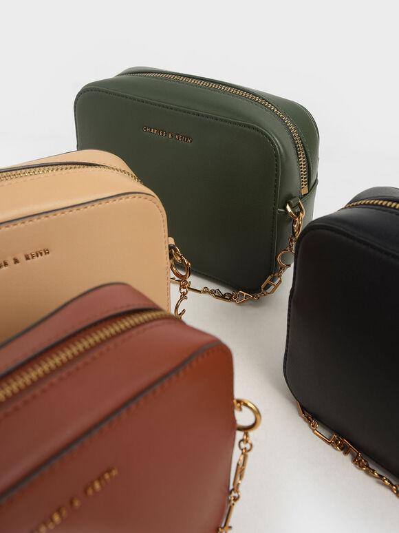 Chain-Link Rectangular Bag, Black, hi-res