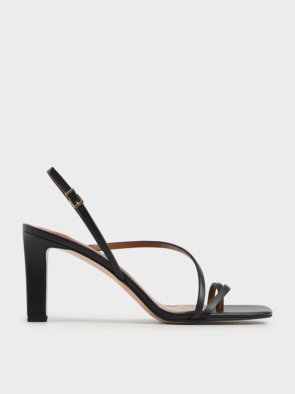 Asymmetric Strap Open Toe Sandals, Black, hi-res