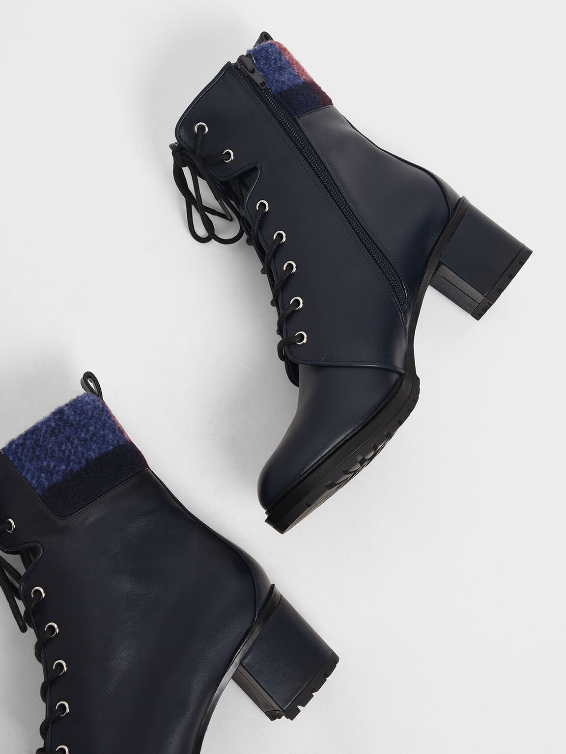 Wool Cuff Combat Boots, Dark Blue, hi-res