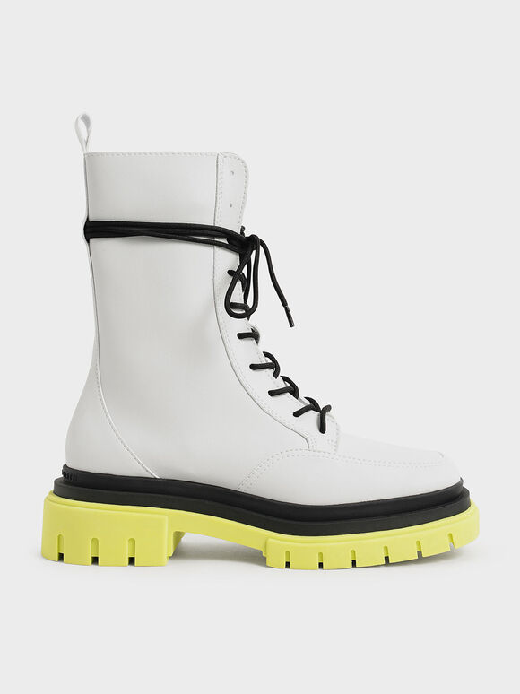 Rhys Coloured Sole Combat Boots, Lime, hi-res