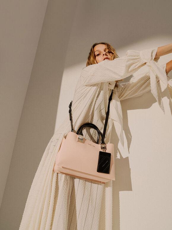 Double Top Handle Structured Bag, Pink, hi-res