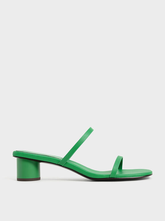 Double Strap Cylindrical Heel Mules, Green, hi-res