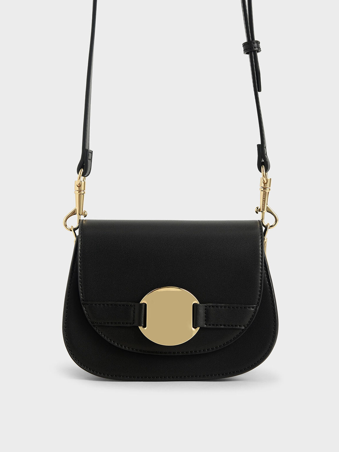 Metal Accent Shoulder Bag, Black, hi-res