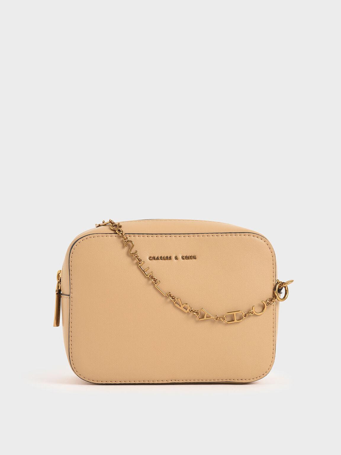 Chain-Link Rectangular Bag, Beige, hi-res