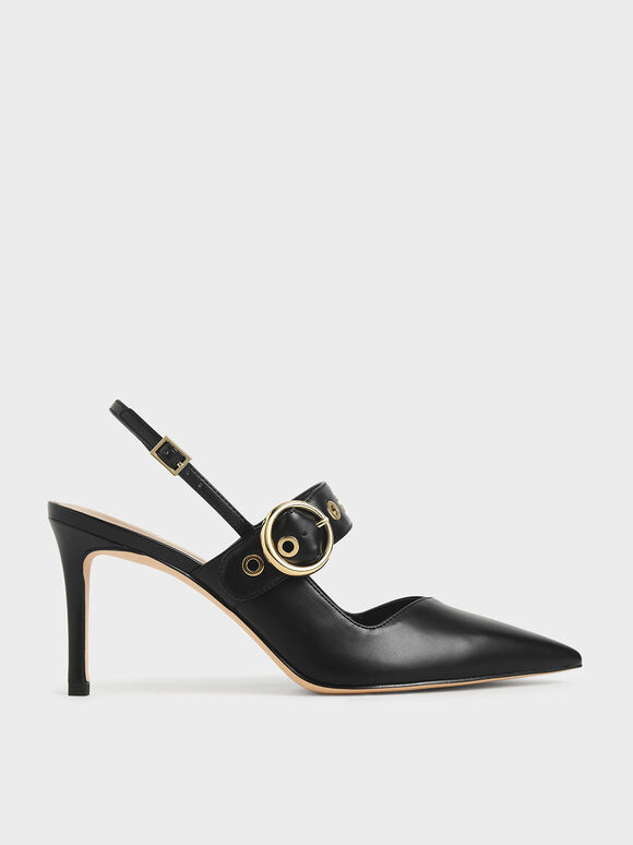 Grommet Slingback Pumps, Black, hi-res
