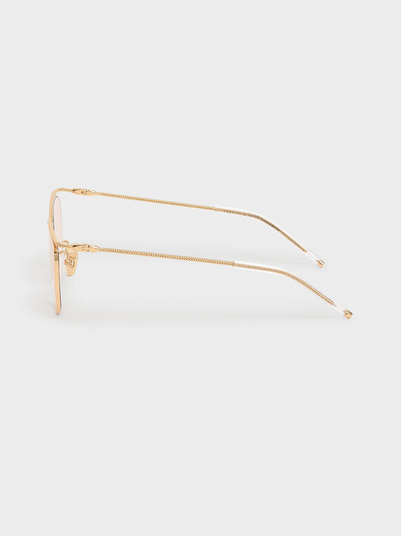 Wireframe Tinted Sunglasses, Orange, hi-res