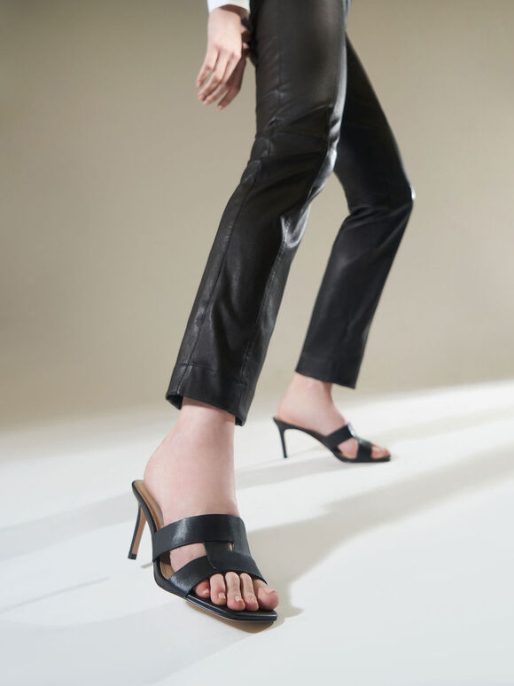 Leather Cut-Out Stiletto Mules, Black, hi-res