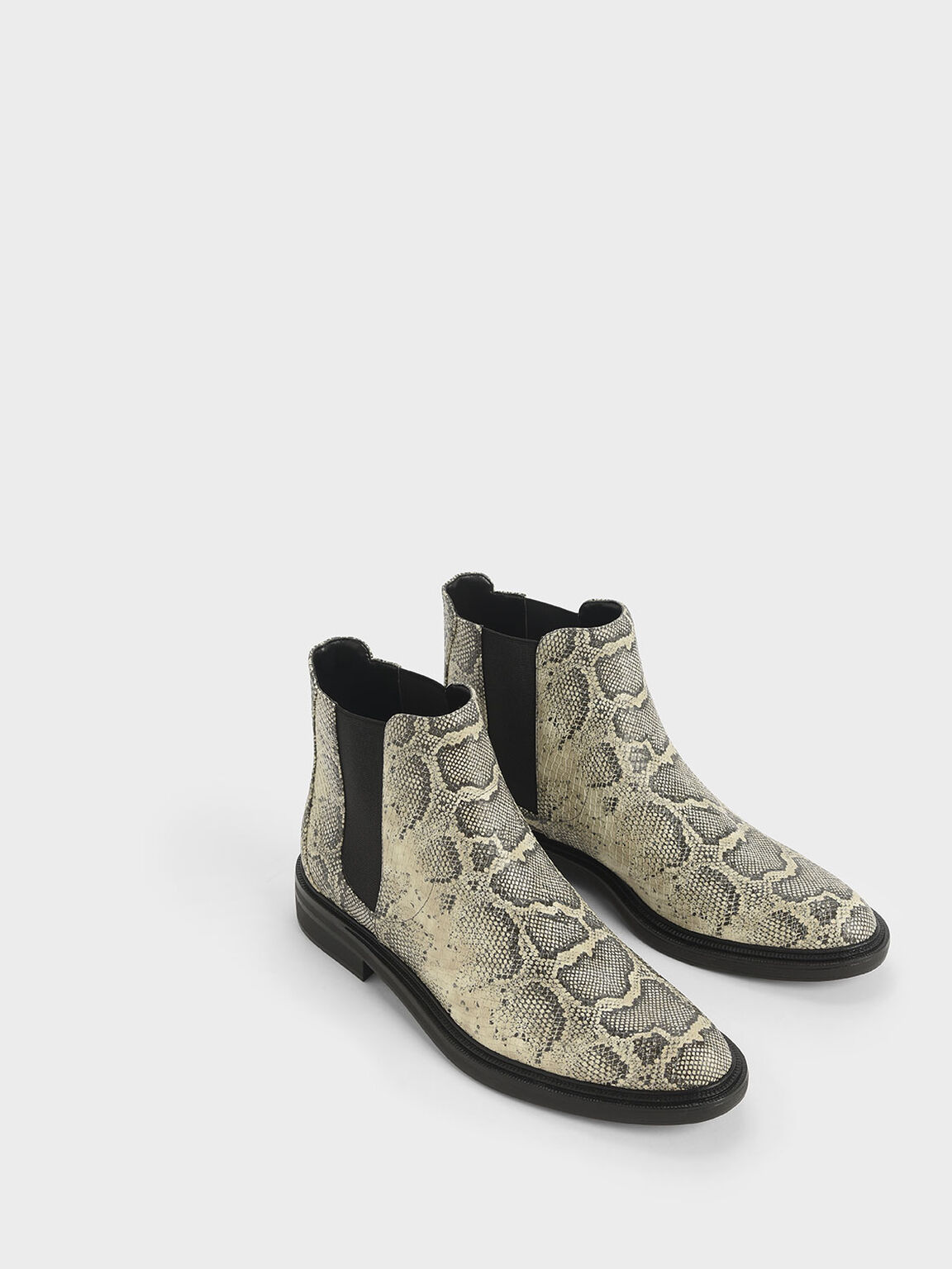Snake Print Chelsea Boots, Grey, hi-res