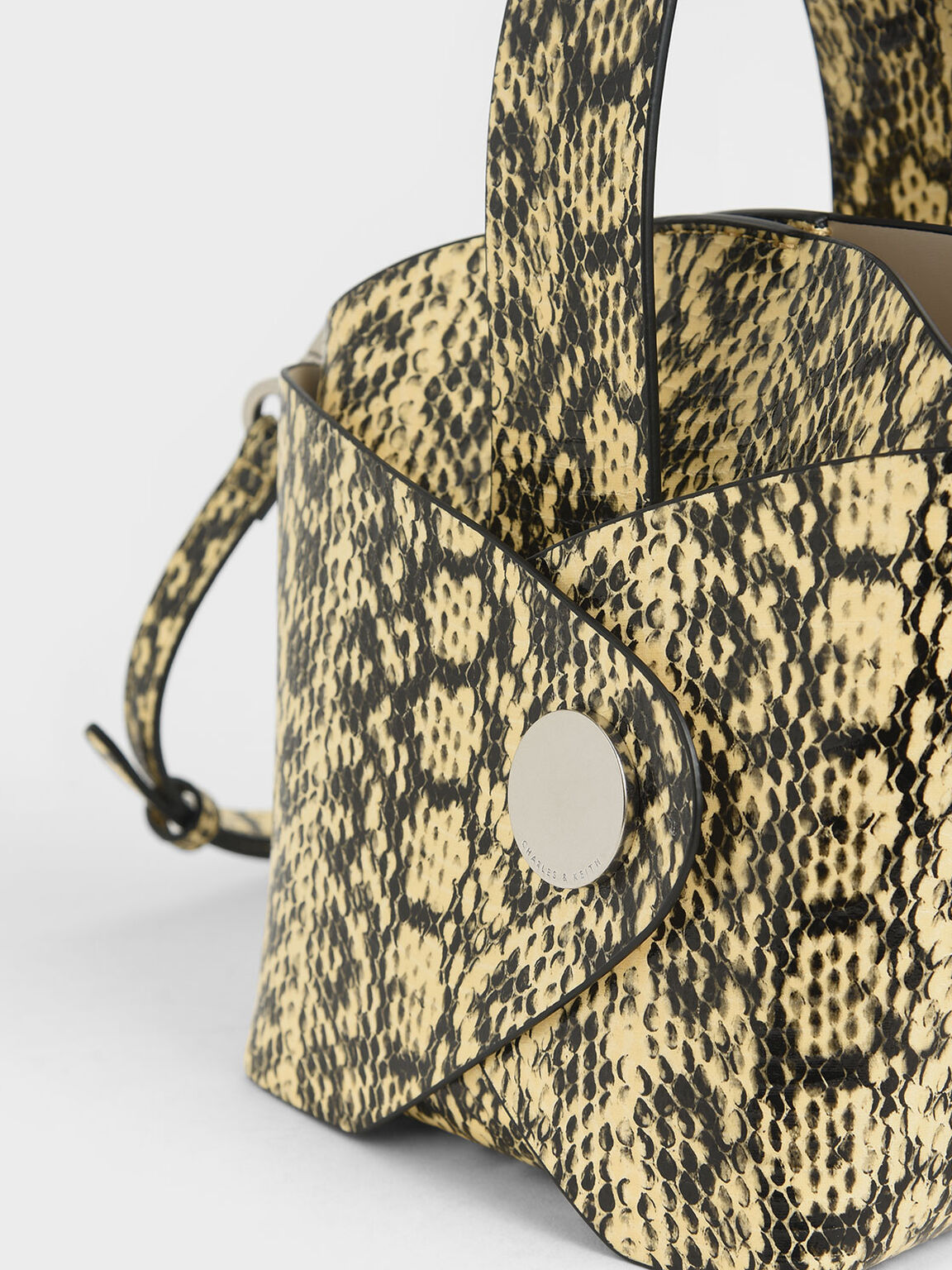 Snake Print Mini Bucket Bag, Yellow, hi-res