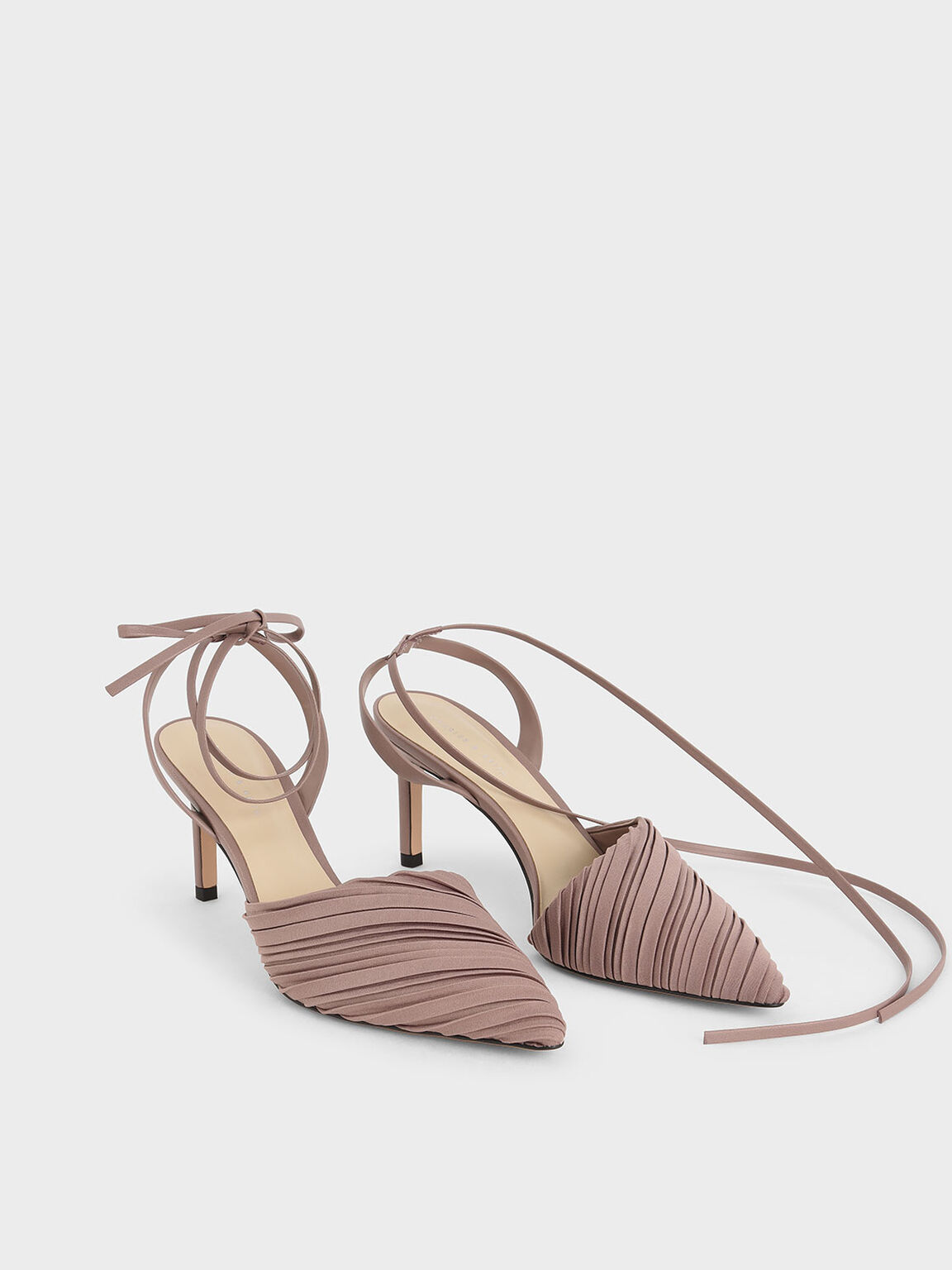 Pleated Ankle Tie Stiletto Pumps, Mauve, hi-res