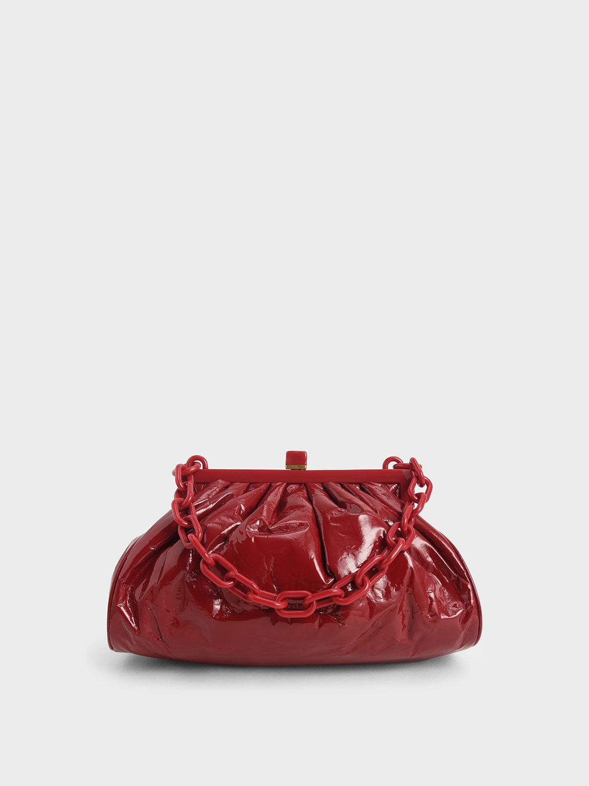 Patent Chain Handle Clutch, Red, hi-res