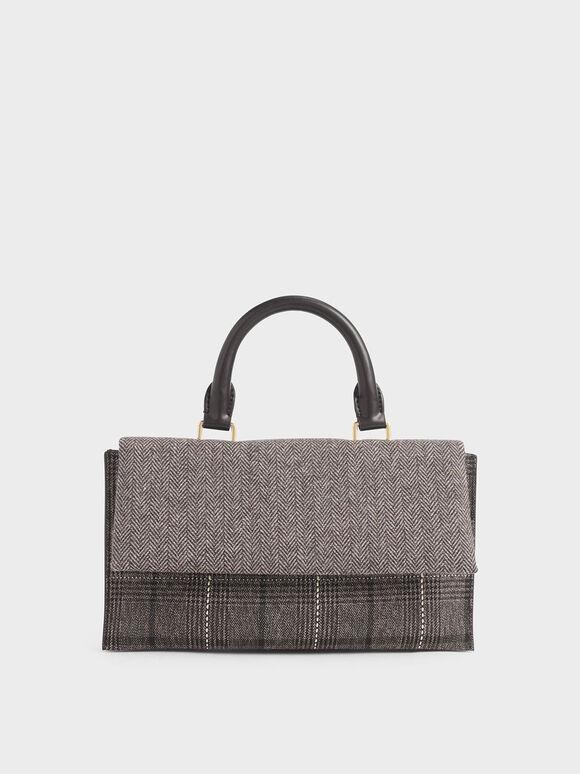 Tweed Rectangular Top Handle Bag, Multi, hi-res