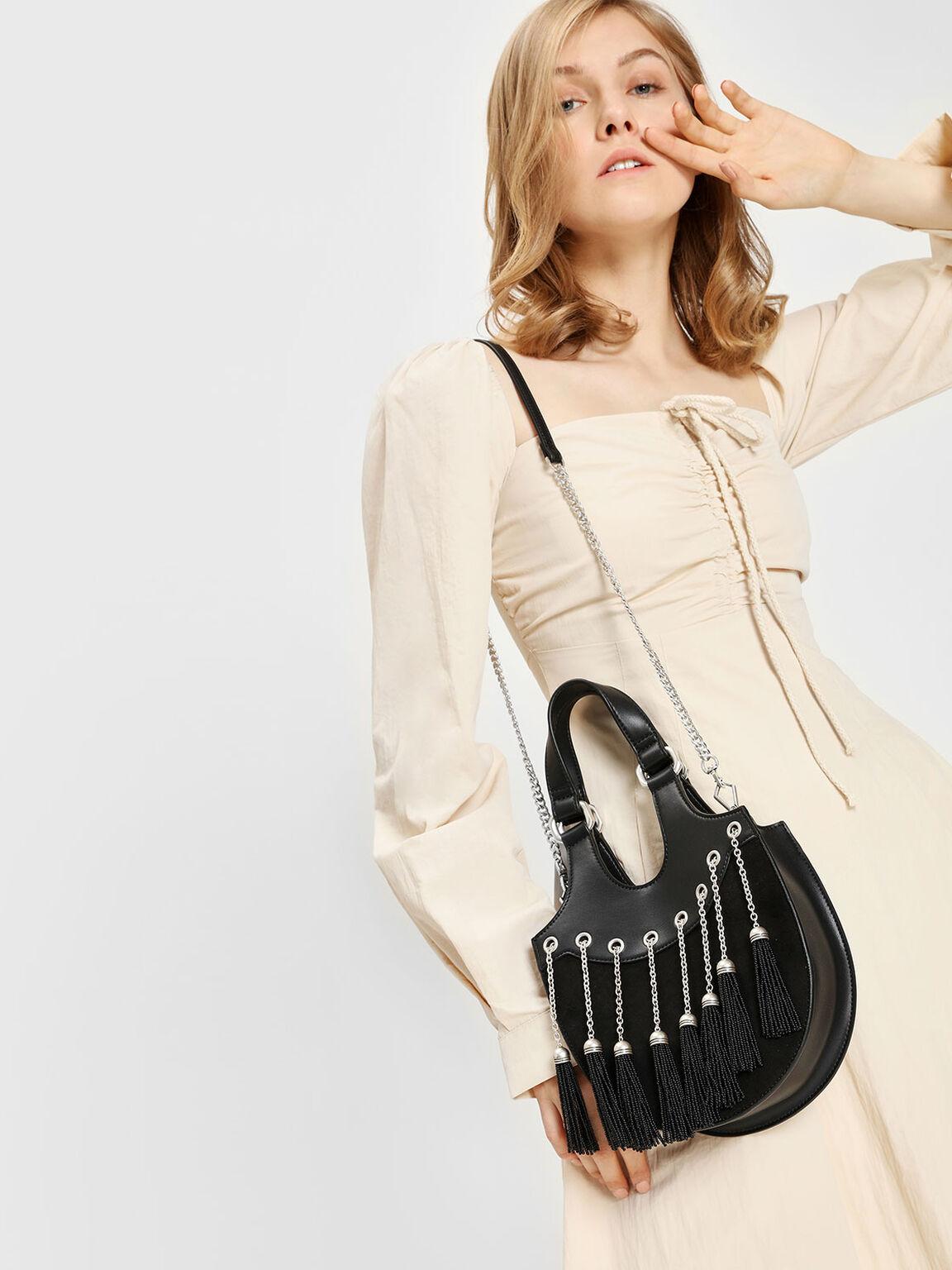 Tassel Detail Hobo Bag, Black, hi-res
