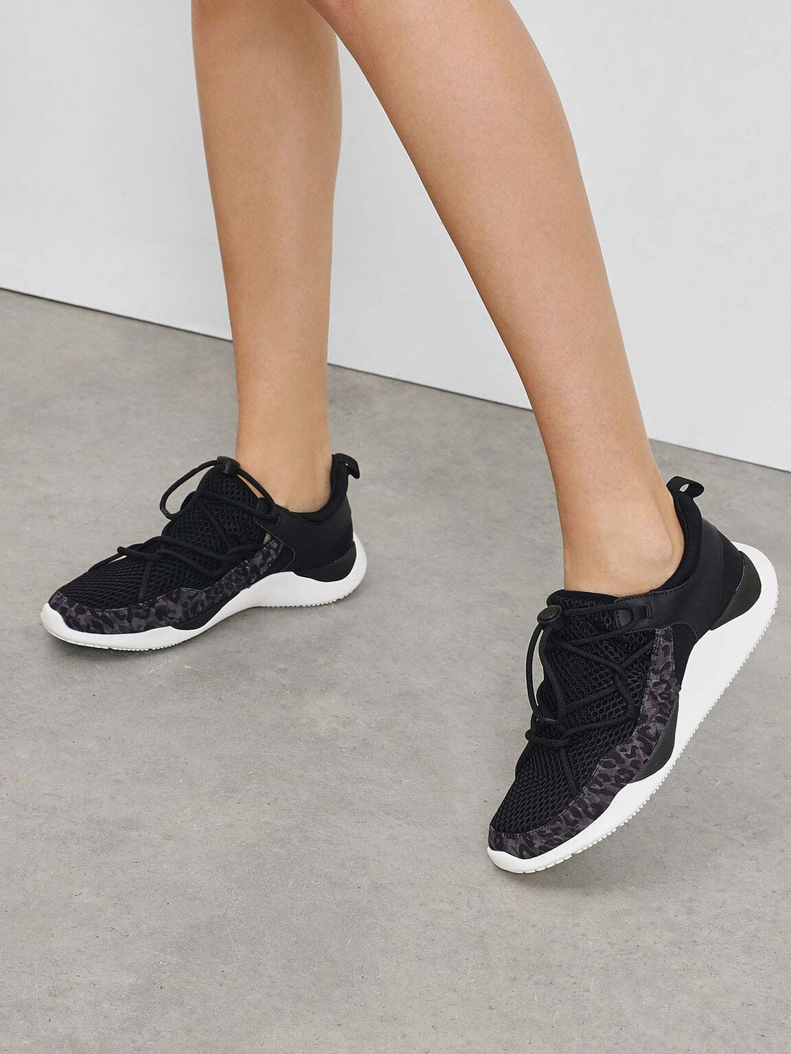 Drawstring Mesh Sneakers, Black, hi-res