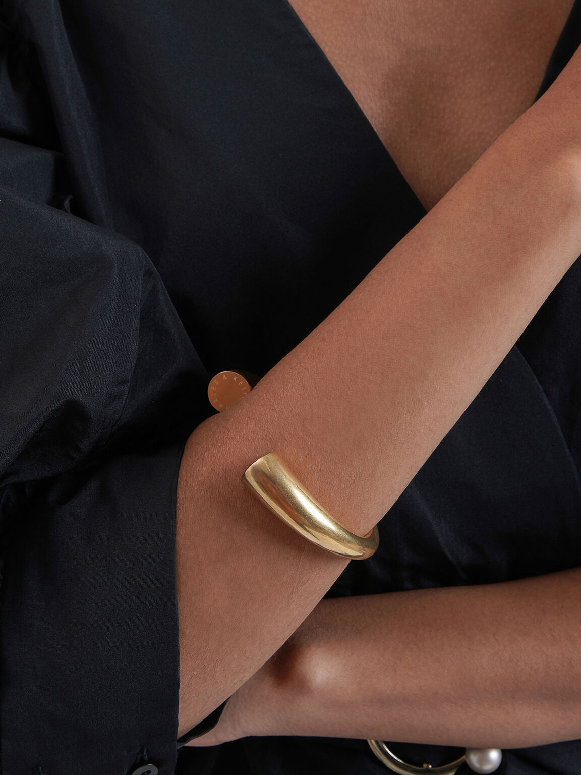 Rose Quartz Cuff Bracelet, Gold, hi-res