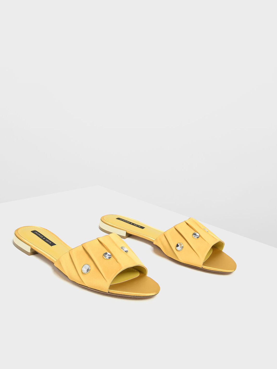 Bejeweled Ruching Slide Sandals, Yellow, hi-res
