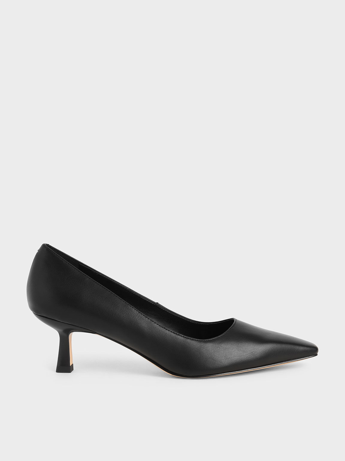 Kitten Heel Court Shoes, Black, hi-res