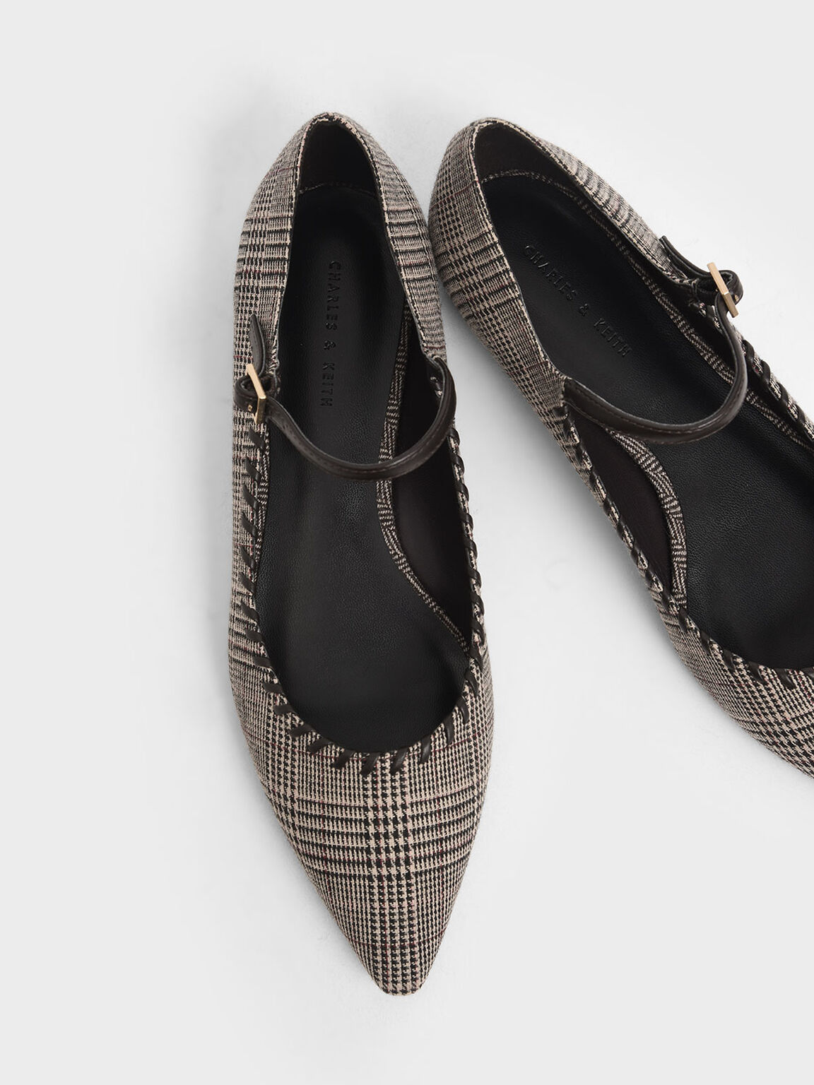 Houndstooth Print Whipstitch Trim Mary Janes, Multi, hi-res