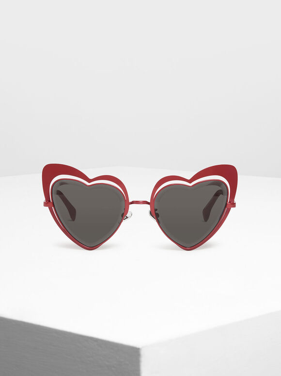 Heart-Shaped Sunglasses, Red, hi-res