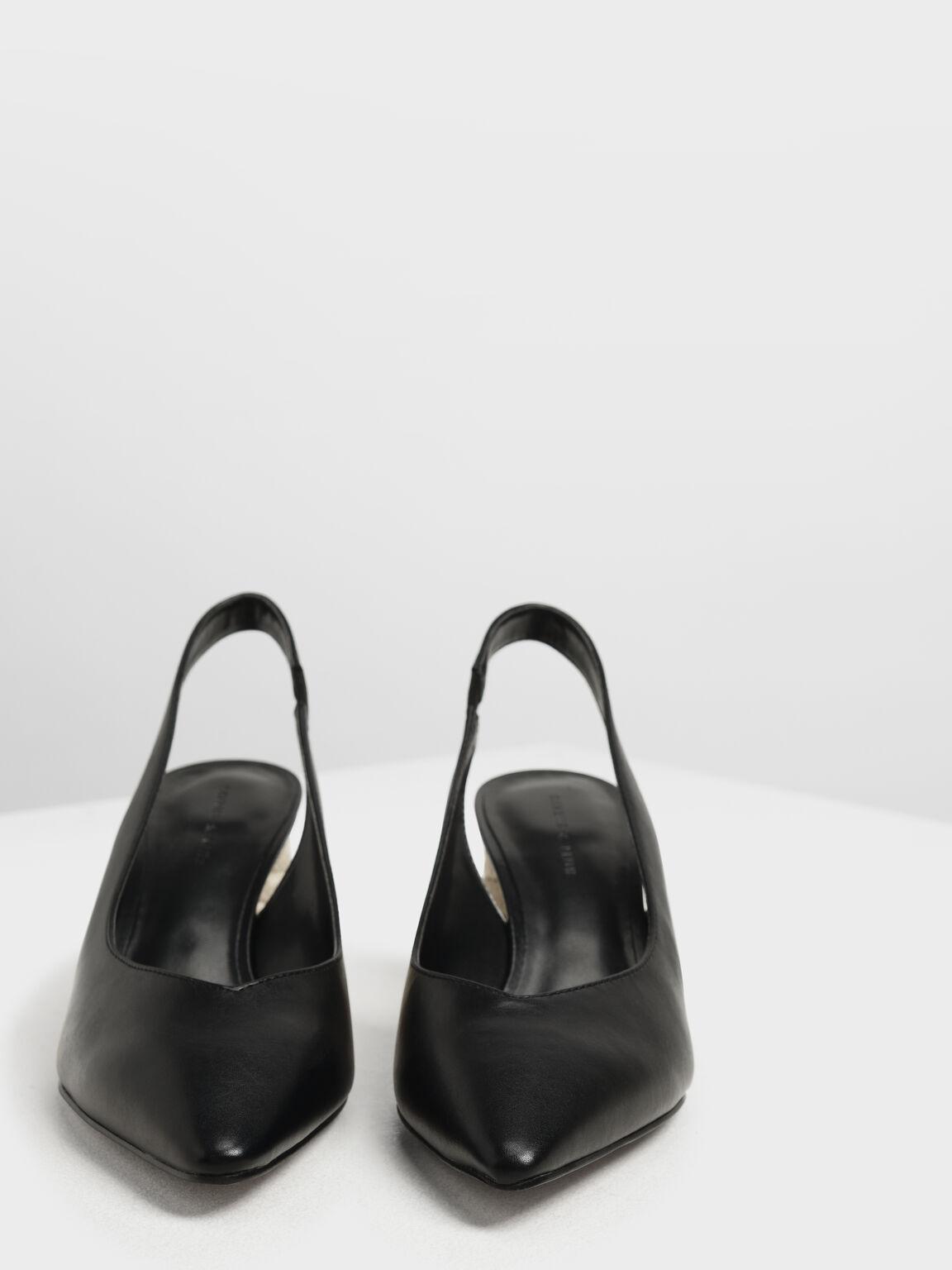Cylindrical Espadrille Block Heel Slingbacks, Black, hi-res
