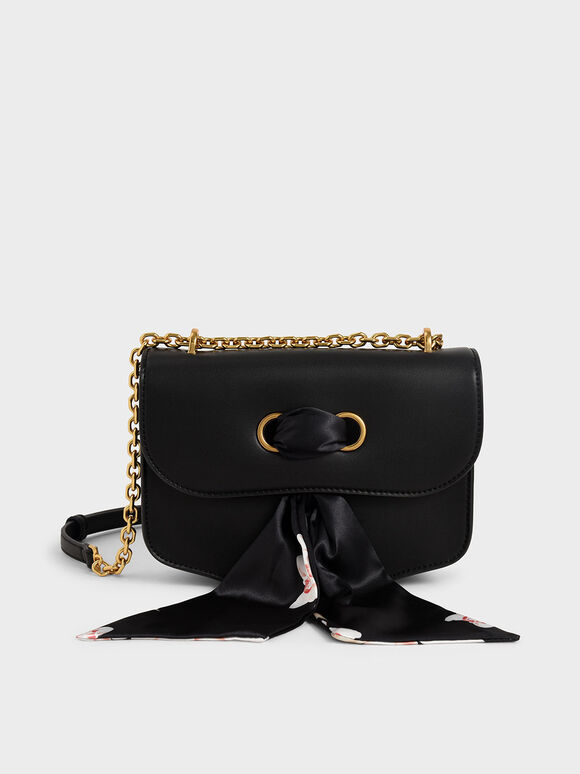 Chiffon Scarf Double Strap Shoulder Bag, Black, hi-res
