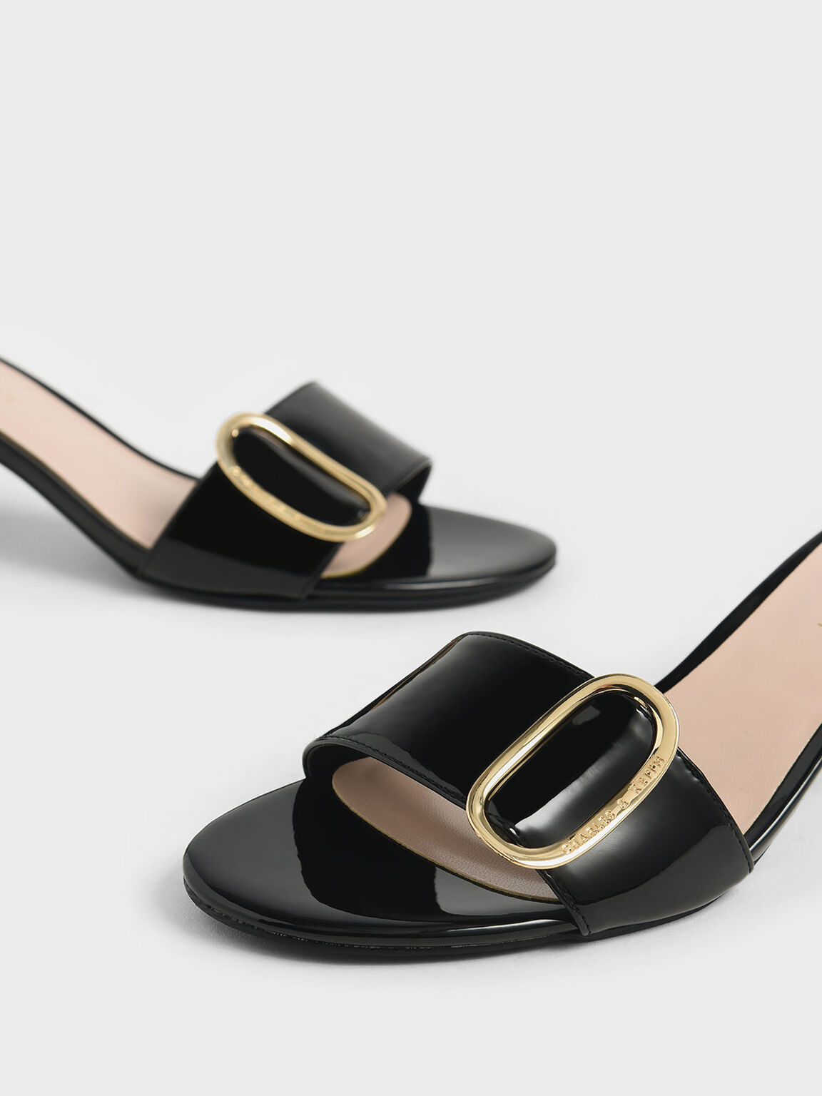Oversized Buckle Patent Slide Sandals, Black, hi-res