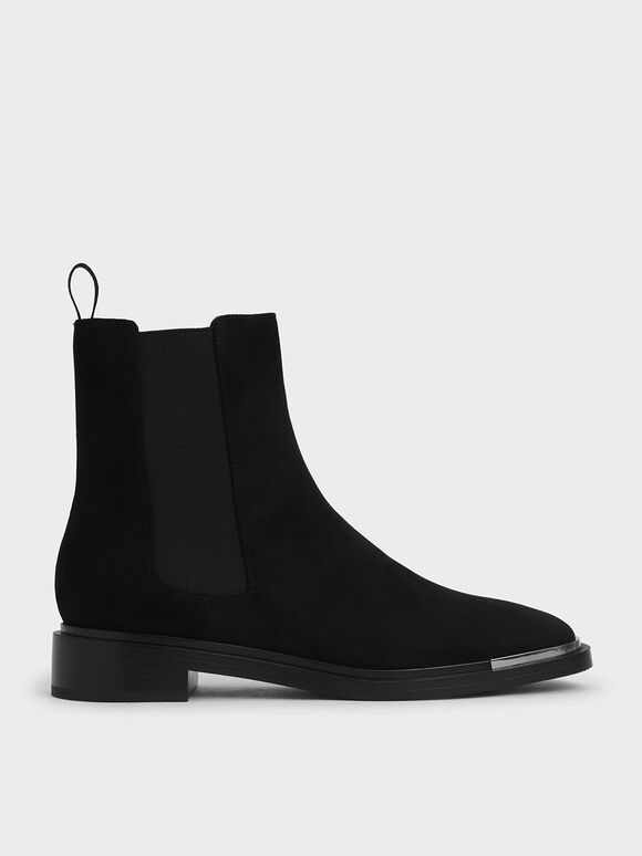 Metal Accent Textured Chelsea Boots, Black Textured, hi-res