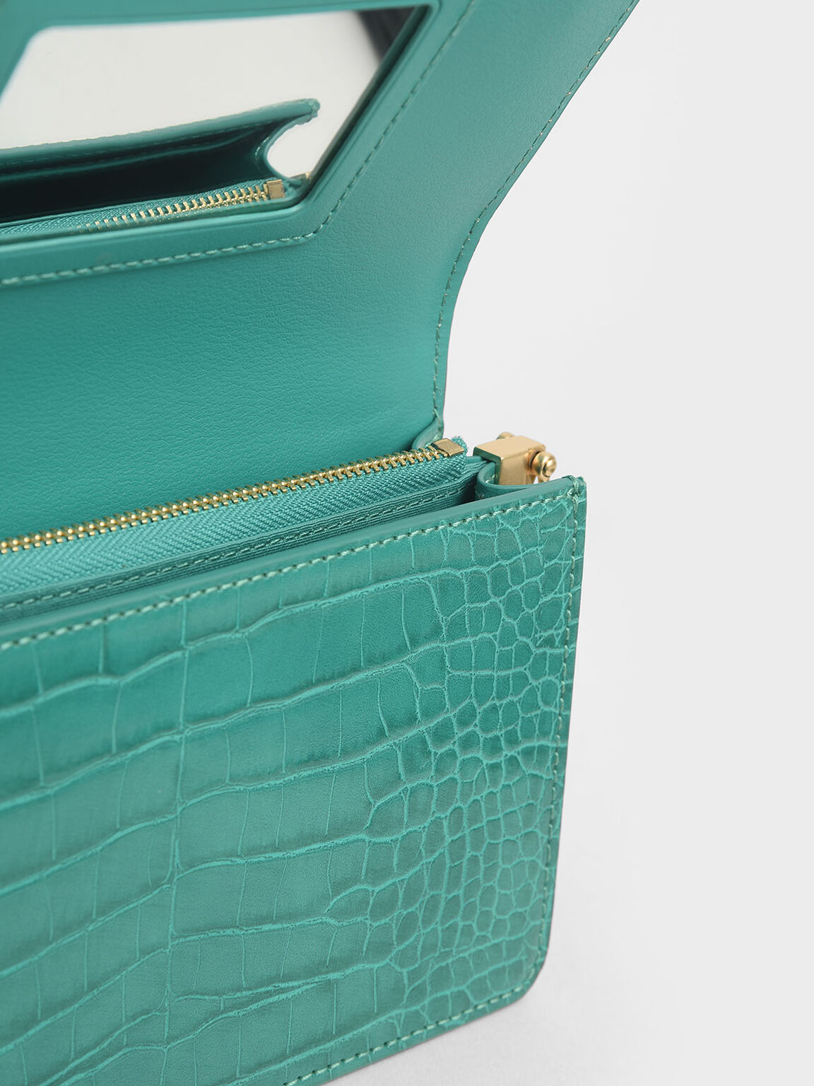 Croc-Effect Clutch, Teal, hi-res