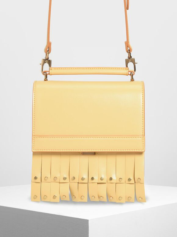 Fringe Trim Top Handle Bag, Yellow, hi-res
