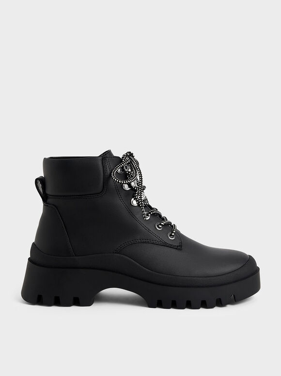 Lace-Up Chunky Ankle Boots, Black, hi-res