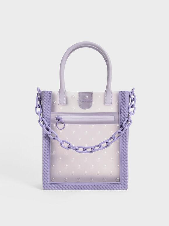 Chain Link Tote Bag, Lilac, hi-res